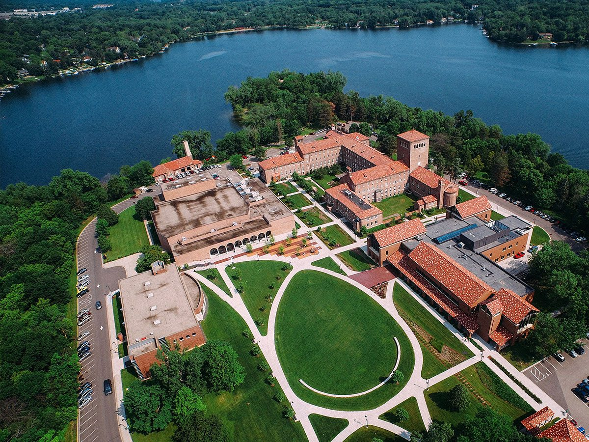 Aerial view of Northwestern campus