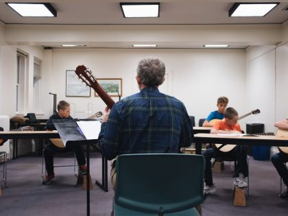 Guitar class instruction