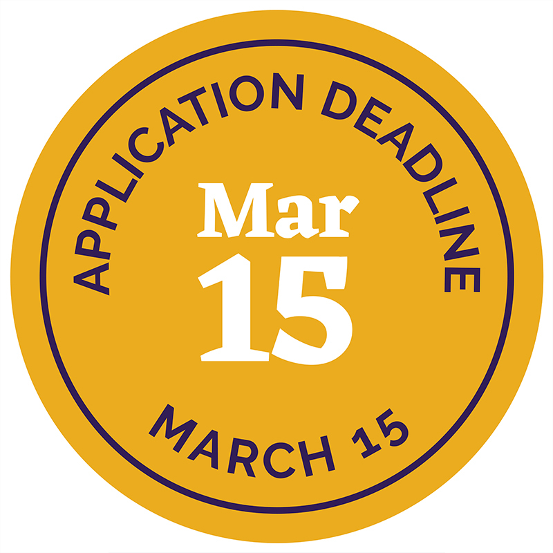 Application deadline badge for March 15