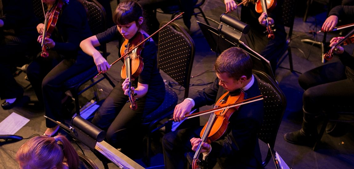Violin players in concert
