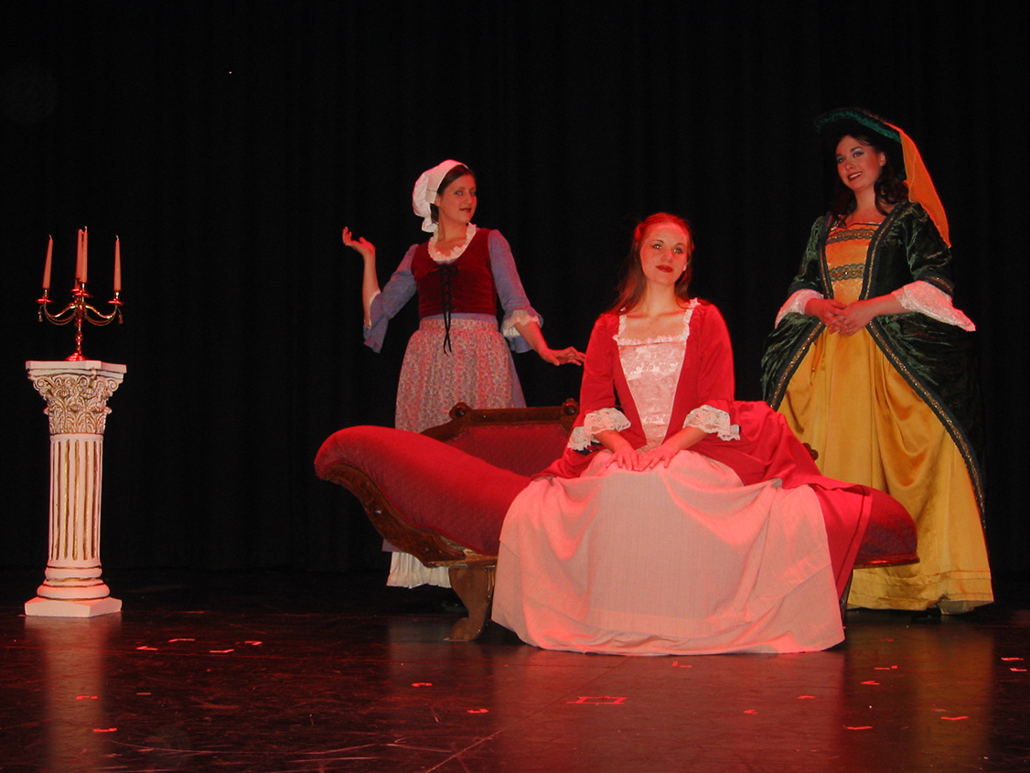 "April Fredrick, center, performs in Northwestern's production of Mozart's ""Marriage of Figaro"""