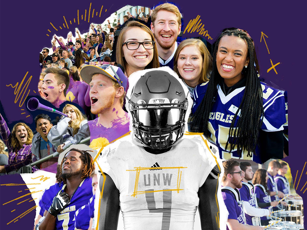 collage of football players and fans