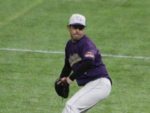 Northwestern's Tori throwing a baseball during a game