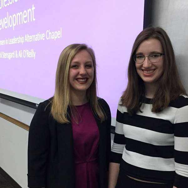 Students Lindsey Zaic (left) and Katie Ring (right) started the Northwestern Women in Leadership student group.