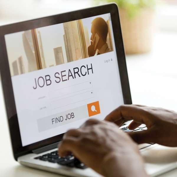 Laptop screen of job search