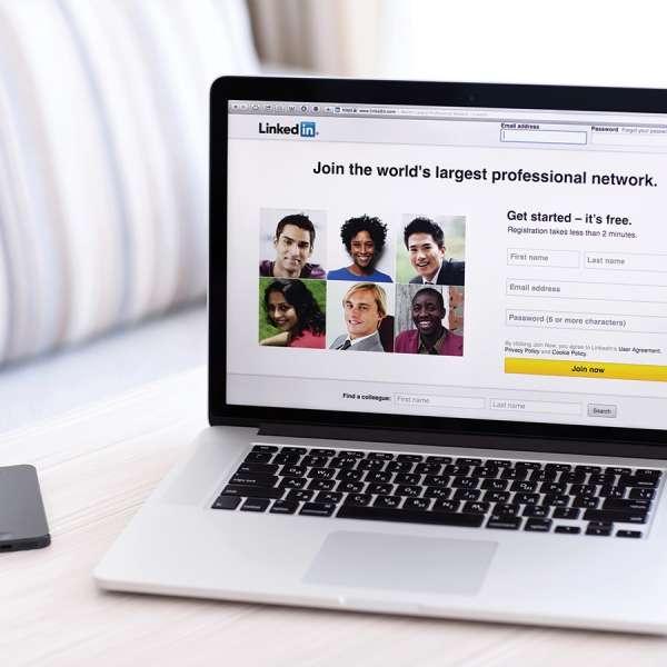 Laptop computer screen of LinkedIn application
