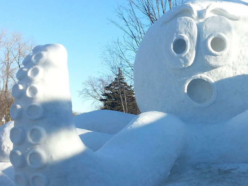 Snow sculpture of giant octopus