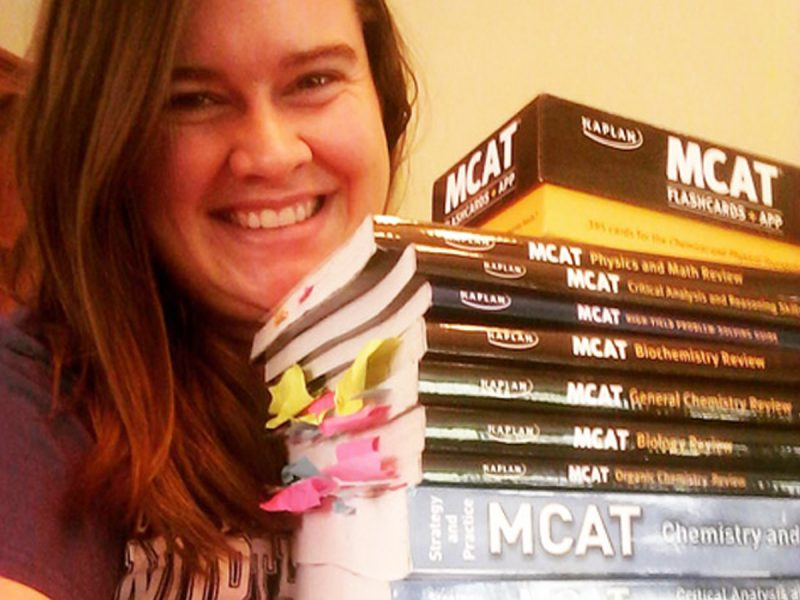 Rebecca Honneger with textbooks