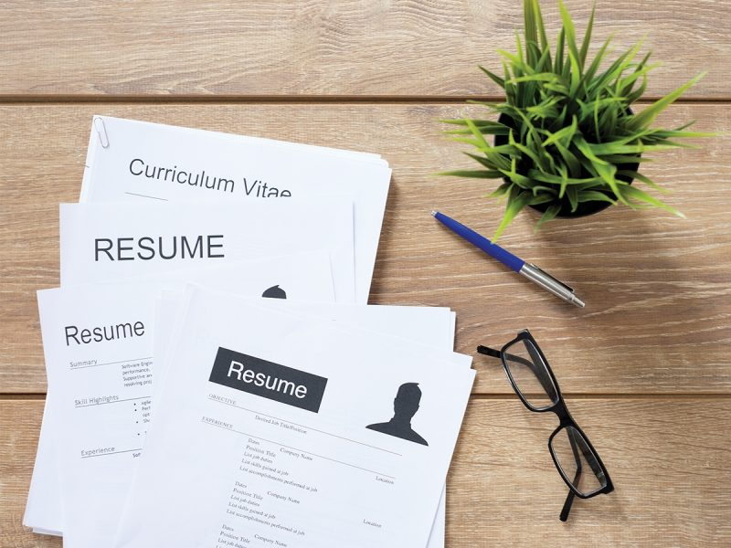 Photo of resumes on a desk