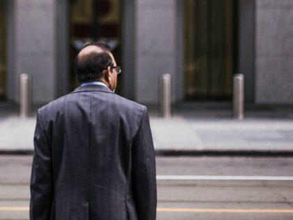 Man walking through the city