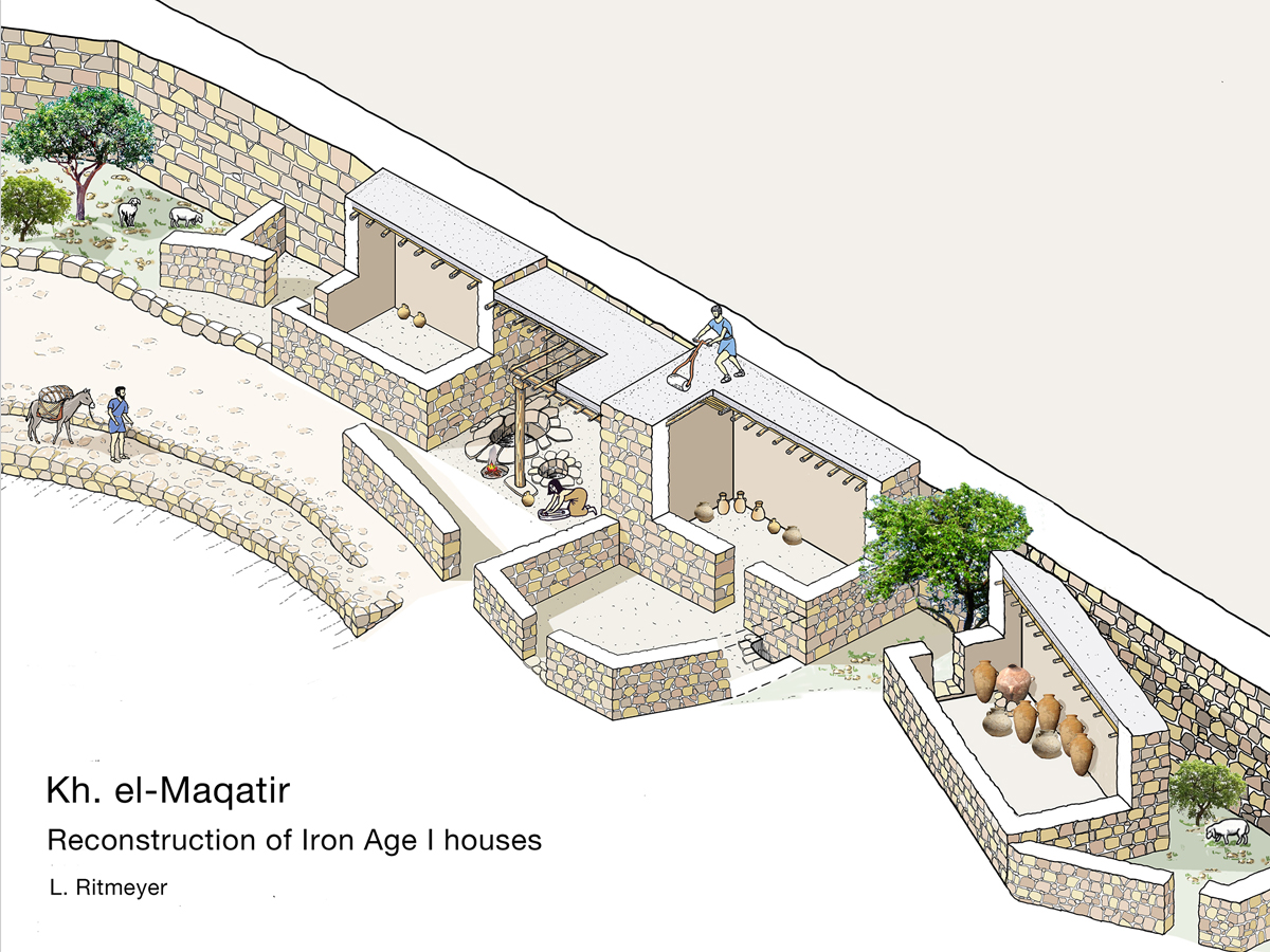 Illustration of the reconstruction of Iron Age I houses