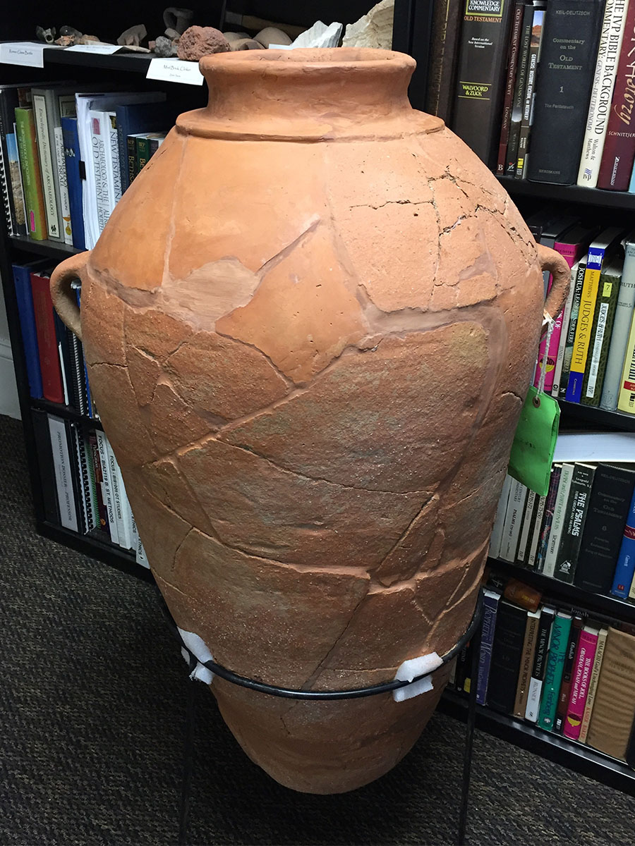 Pieced together pithos jar