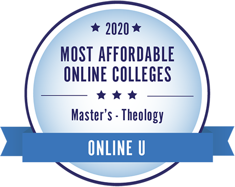"Graphic stating ""2020 Most Affordable Online Colleges Master's Theology"""