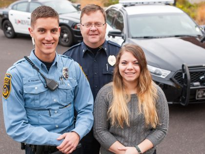 Woman with Roseville police officer and campus safety