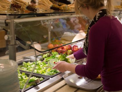Woman at salad bar