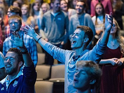 Students in worship chapel