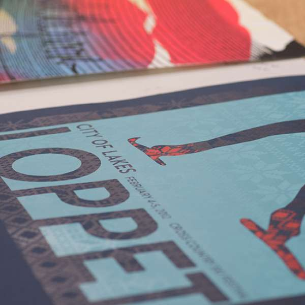 Close up of screen printed posters