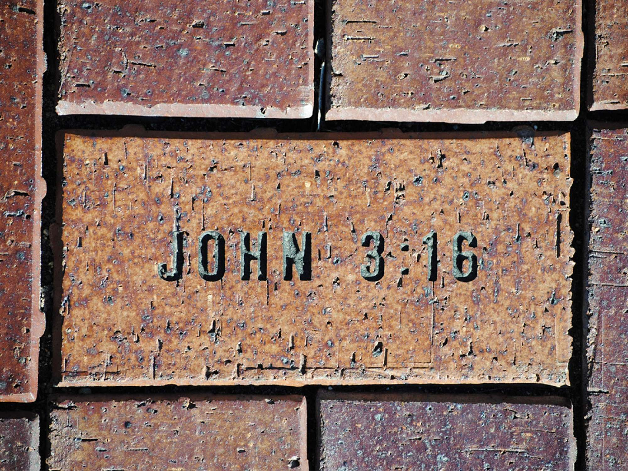 John 3:16 inscribed in a paver