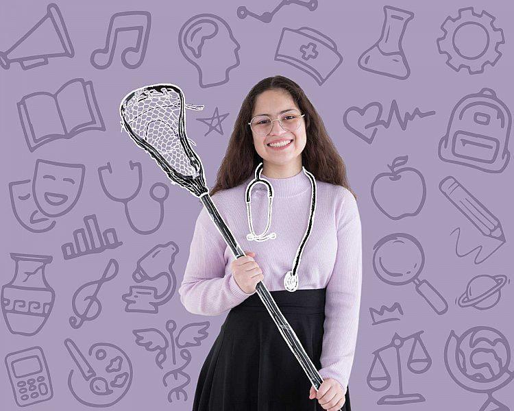 student wearing stethoscope and holding a lacrosse stick