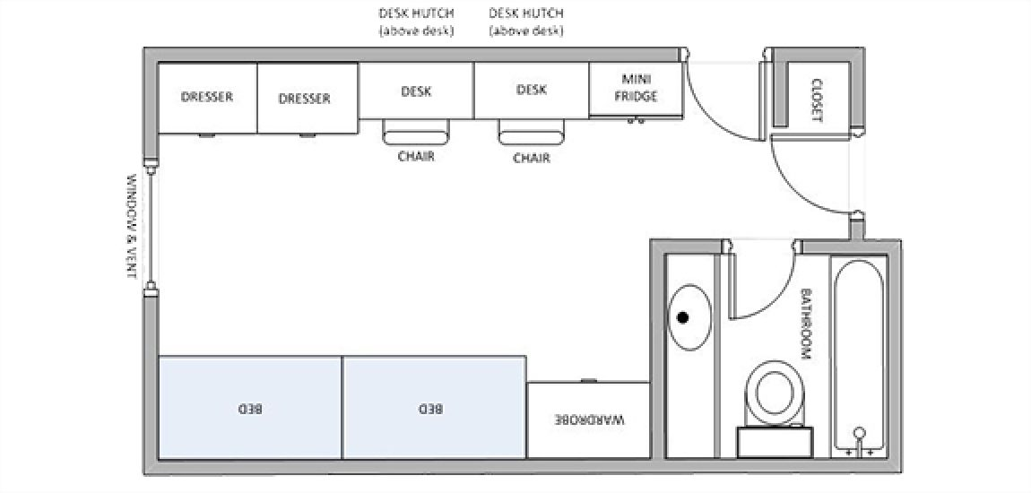 Two-person Akenson dorm room layout