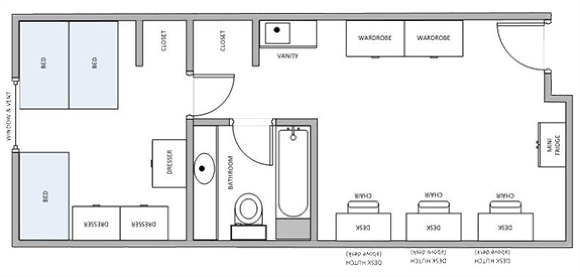 three-person Akenson dorm room layout