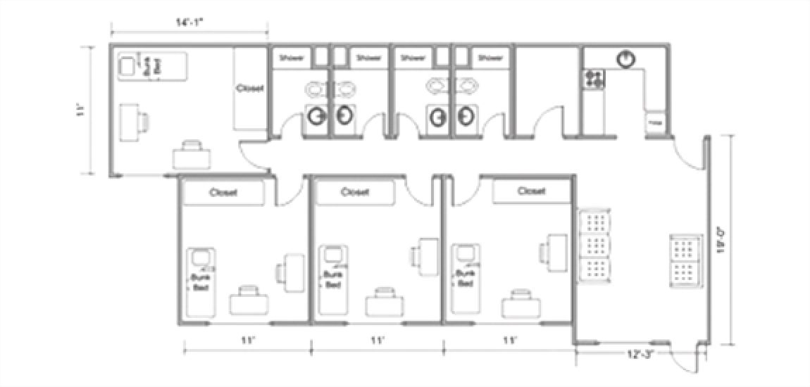 Floorplan of Moyer rooms