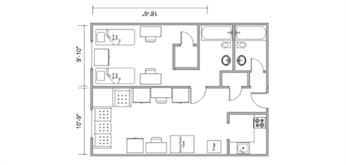 Floor plan of a four person Ramseyer room