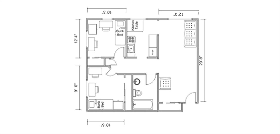 Floor plan of a five person Ramseyer room