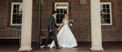 Wedding couple at Nazareth Chapel
