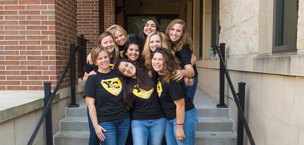 Youth Crew girls on stairs