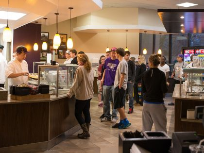Students in the Eagle's Nest dining hall.