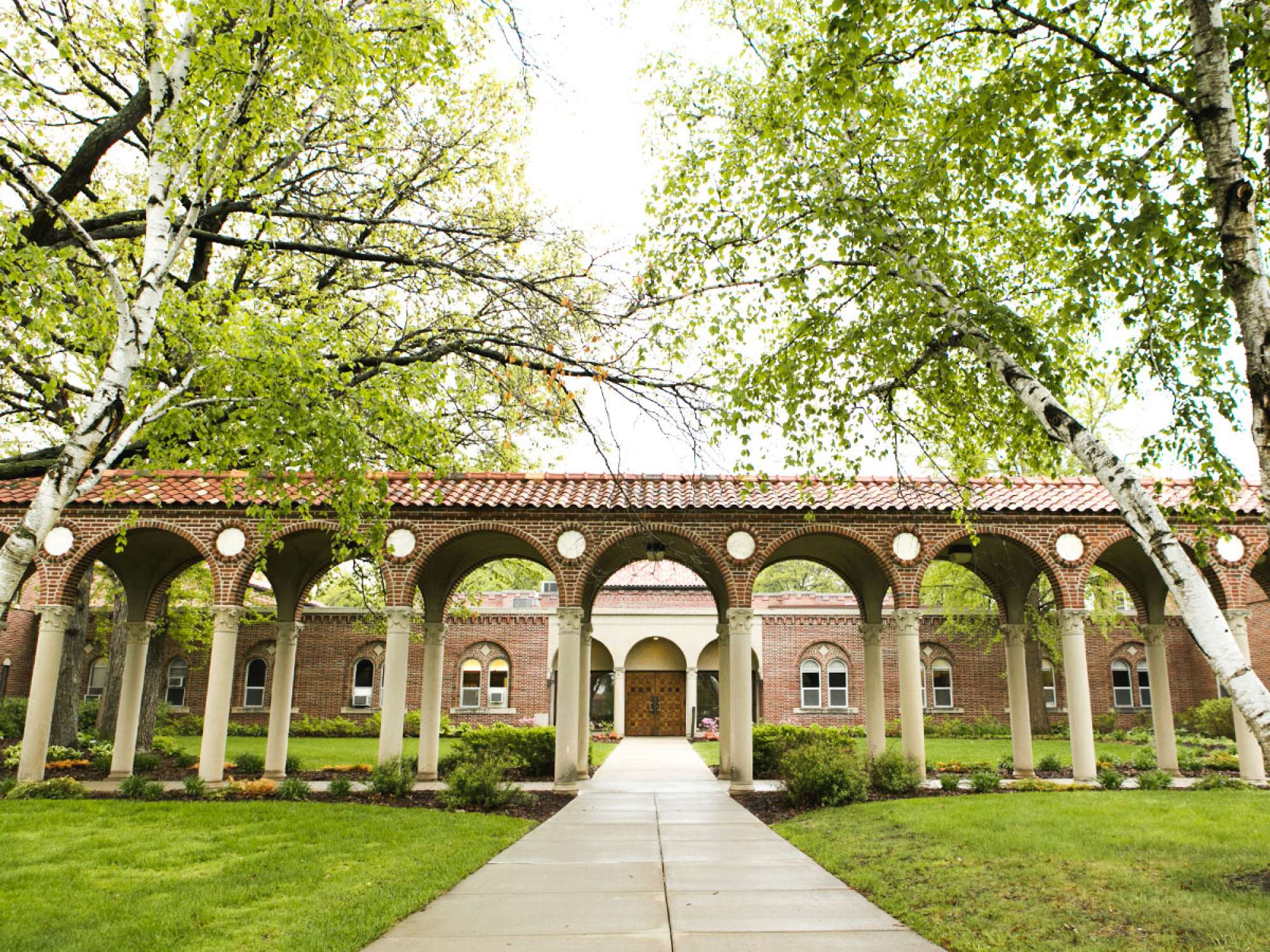 Front view through the arches of Riley Hall