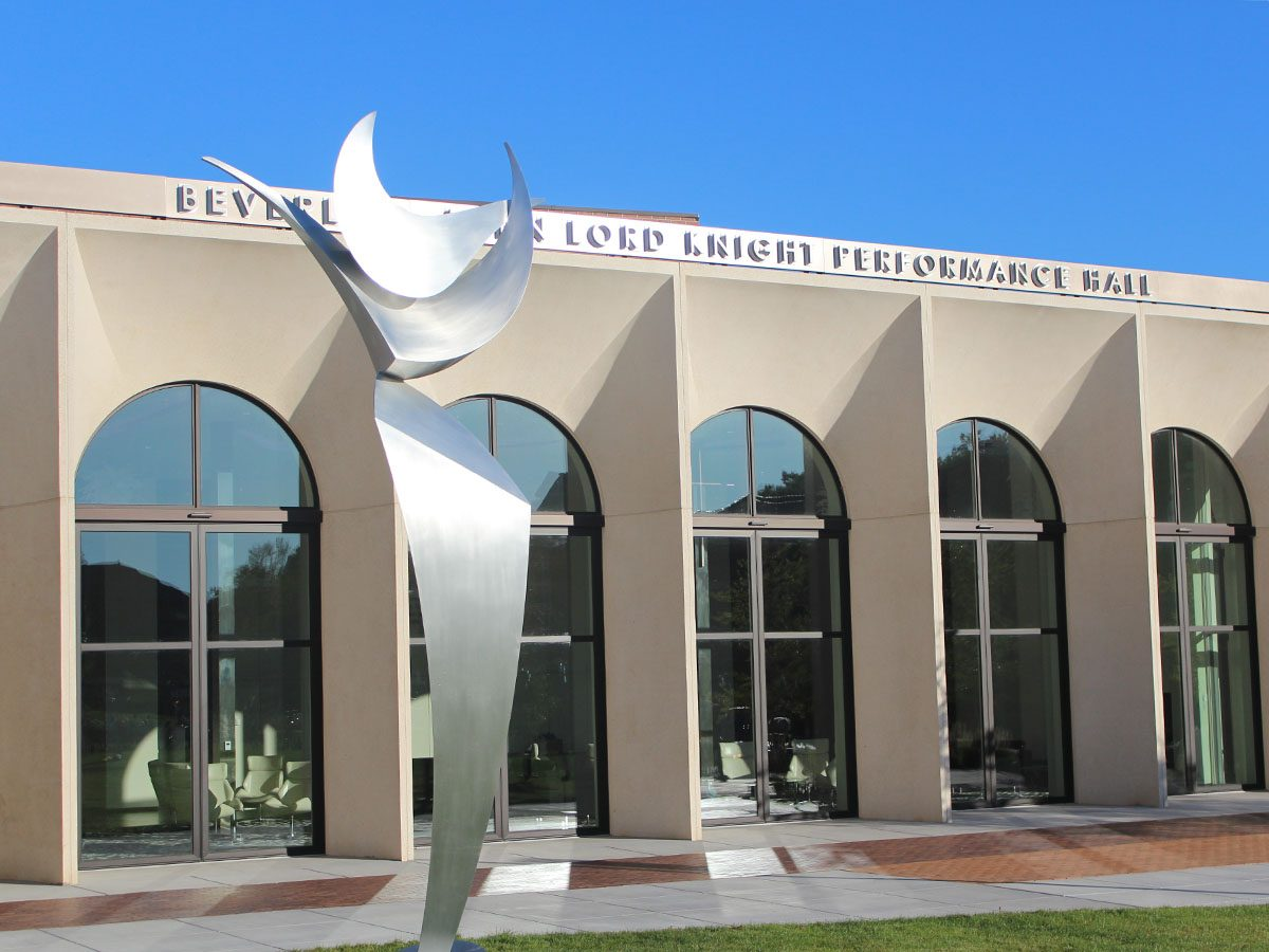 Front view of the Beverly and John Lord Knight Performance Hall