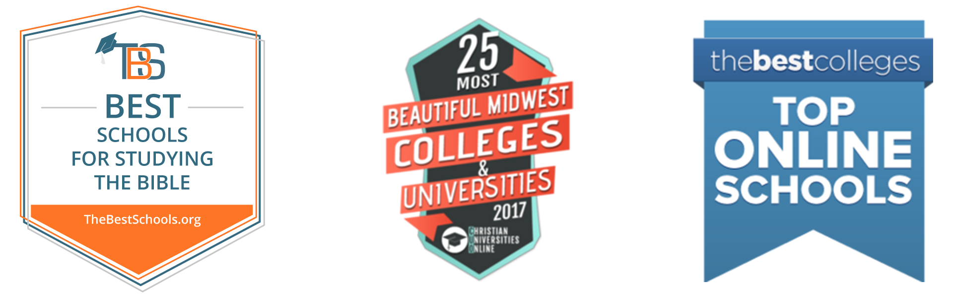 The16th Best School for Studying the Bible, First of 25 Most Beautiful Colleges and Universities 2017 Award, and Top Online Schools Award badges.
