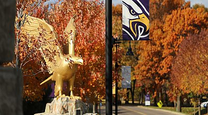 campus eagle in the fall