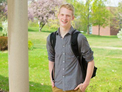 Student near Riley Hall