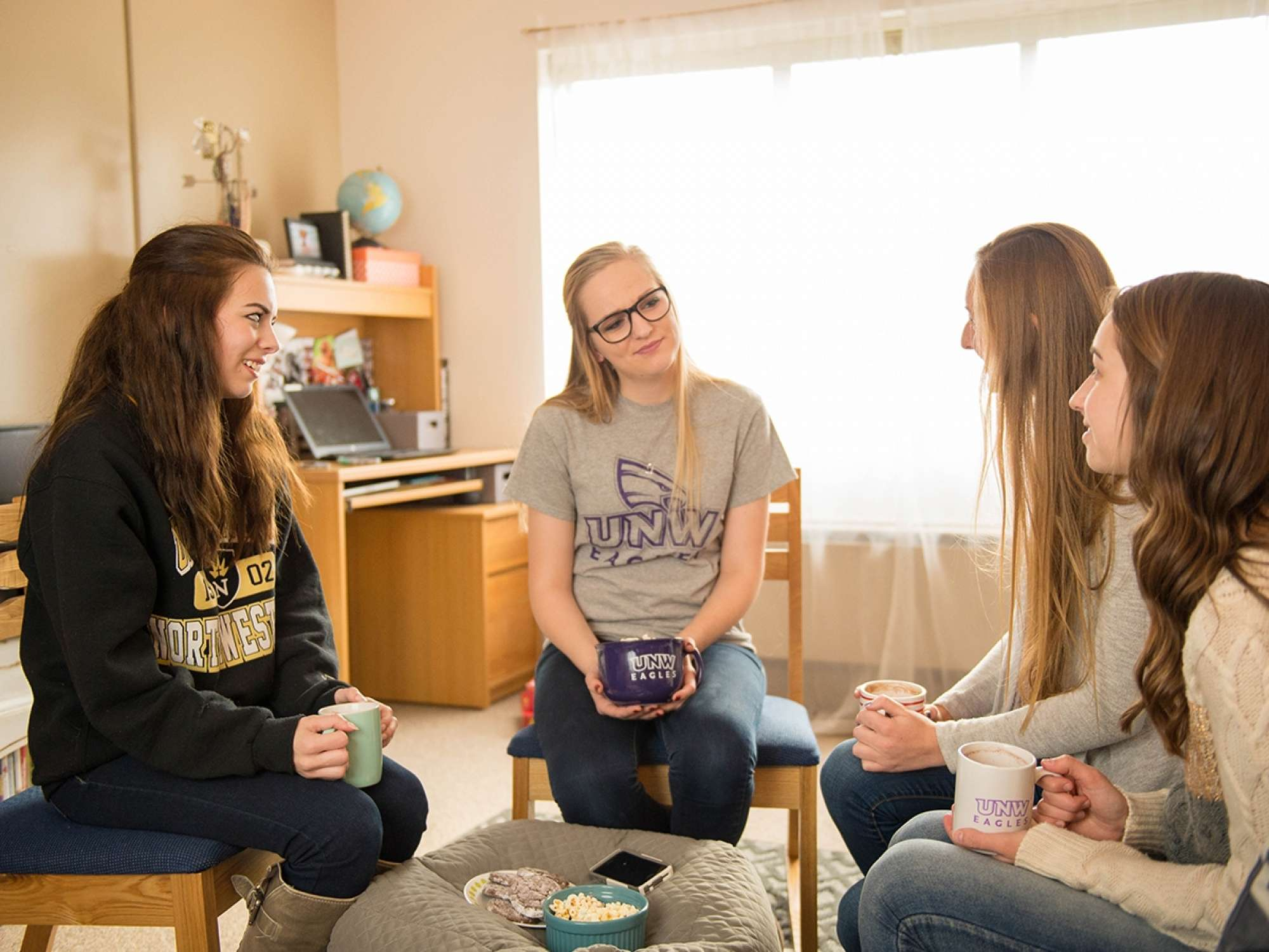 Four students in dorm room