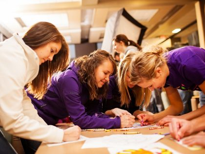 Students preparing art