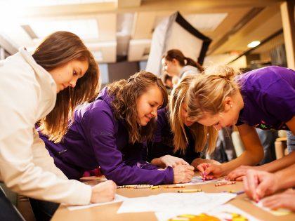 Students preparing art