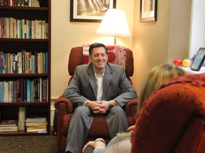 Photo of counselor Joe Biancardi his counseling office.