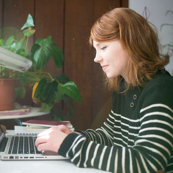 Student on laptop at home