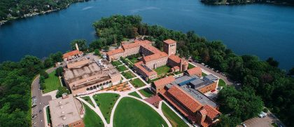 Aerial view of Northwestern lakeside campus.
