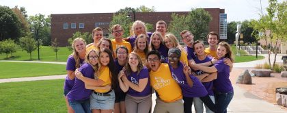Photo of diverse group of Northwestern student ambassadors on campus.