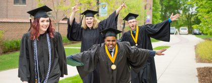Photo of Northwestern grads at commencement.