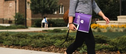 Student walking around campus