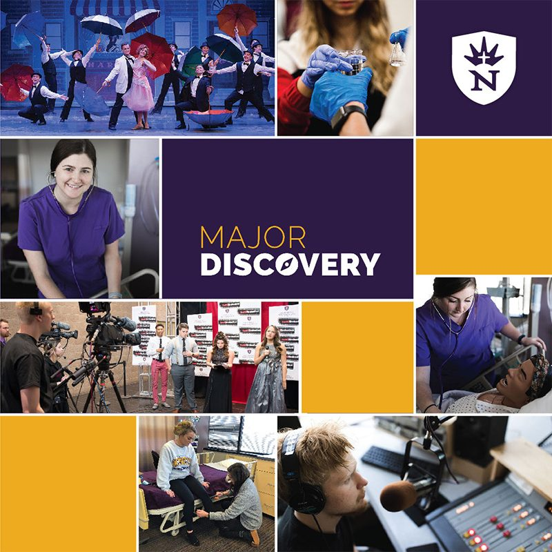 Major Discovery graphic and collage with students shown in a musical, nursing, radio broadcasting, and the Five16 Film Festival