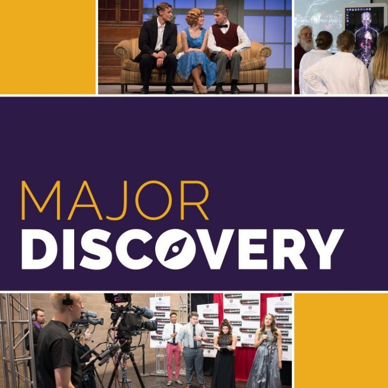 Major Discovery graphic and collage with students shown in a musical, nursing, and the Five16 Film Festival