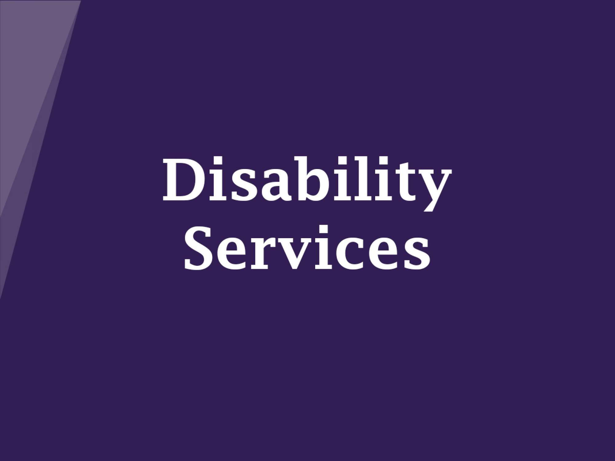 Graphic saying 'Disability Services'