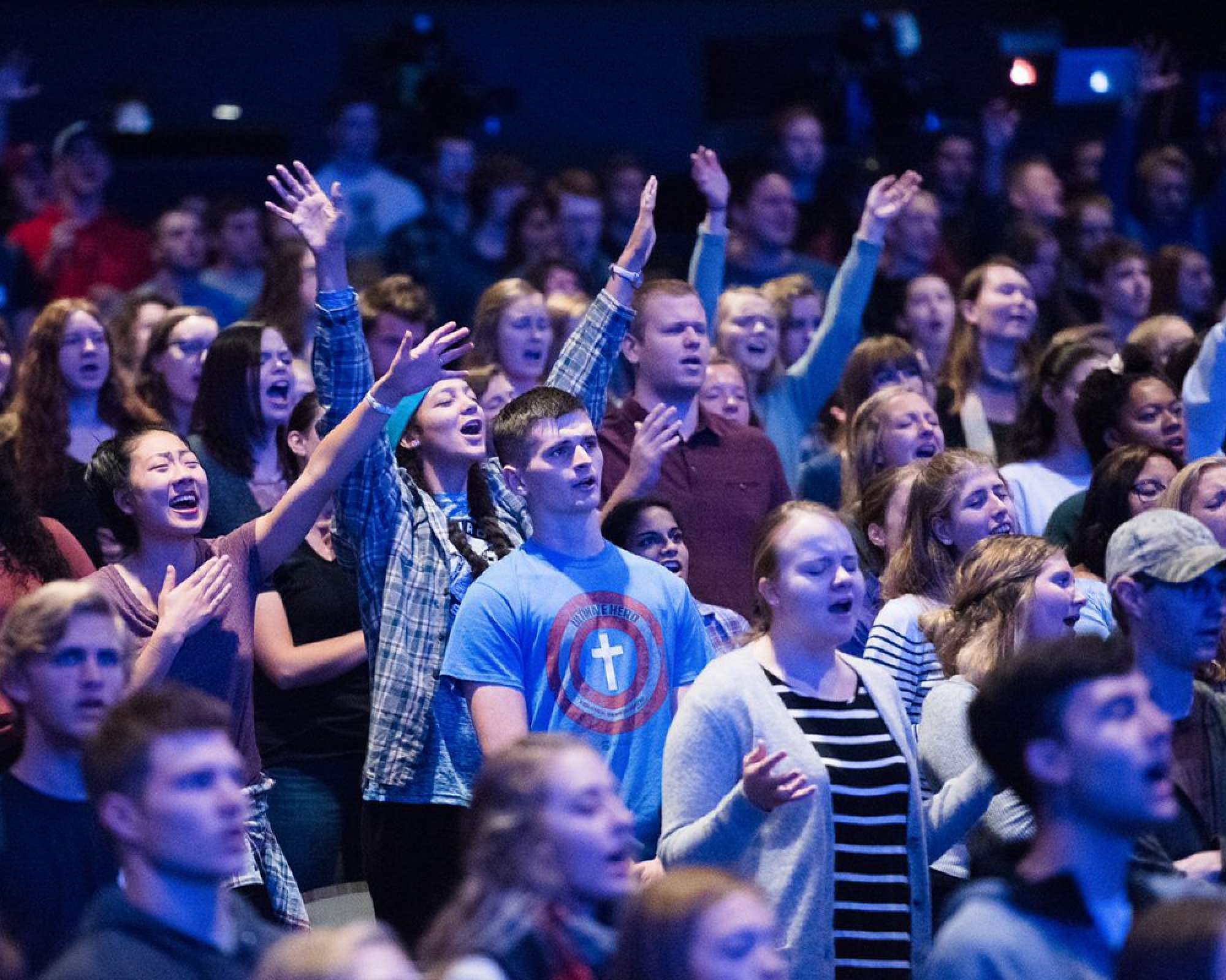 Photo of students worshiping