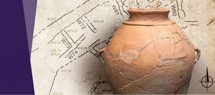 Old map with a clay jar